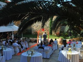 Wedding reception and party at the villa's garden