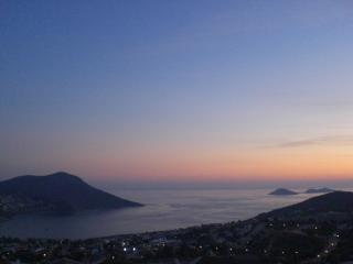 Sunset over Kalkan bay, from the roof terrace.