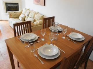 Dinner is served (table extends - seating and crockery for 6 people)