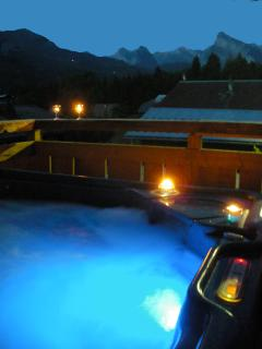 Hot tub in the evening, Chalet Pomet, a large Chalet in Morillon, The Grand Massif