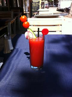 Enjoy a Bloody Mary cocktail at the local Sardinian restaurant!