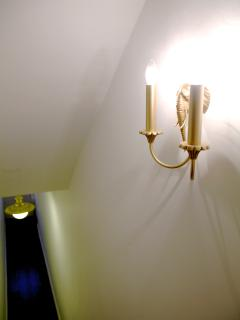 The corridor to the flat, with new light fixtures.