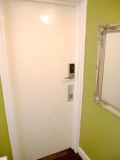 The door to the flat with electronic key fob.