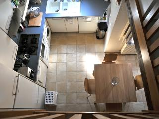 Kitchen and dining room from mezzanine