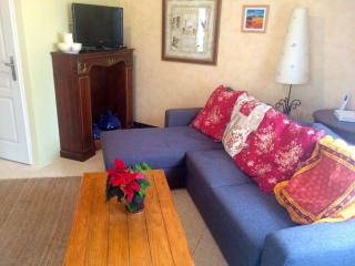 salon with sofabed, flat screen TV, DVD, printer, wifi, books, games, music and movies